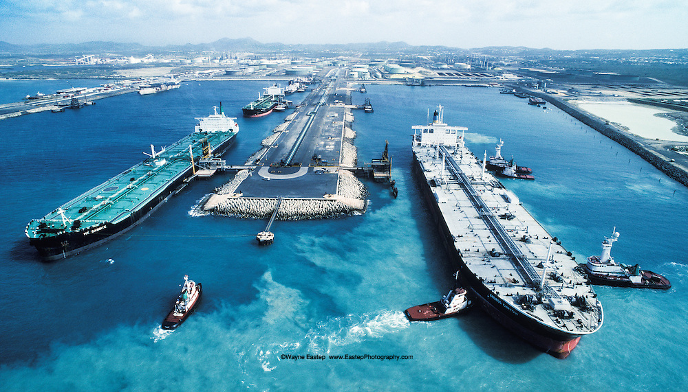 Supertankers loading and offloading at the Amerada Hess refinery in St. Croix, U.S. V.I.