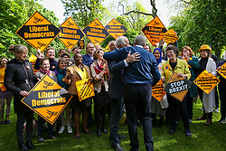 © Licensed to London News Pictures. 10/05/2019. London, UK. Guy Verhofstadt, the EU Parliament's representative on Brexit and the Leader ofthe Alliance of Liberals and Democrats for Europe is greeted by Vince Cable in Camden, north London forthe Liberal Democrats European Union election campaign. Britain must hold European Parliament elections on 23rd May 2019 or leave the European Union with no deal on 1st June 2019 after Brexit was delayed until 31st October 2019, as Prime Minister, Theresa May failed to get her Brexit deal approved by Parliament. Photo credit: Dinendra Haria/LNP