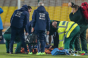 Concern as Alice Parisi (Italy) (Darl Fiorentina) is down and the stretcher is brought on straight away during the Women's International Friendly match between England Ladies and Italy Women at Vale Park, Burslem, England on 7 April 2017. Photo by Mark P Doherty.