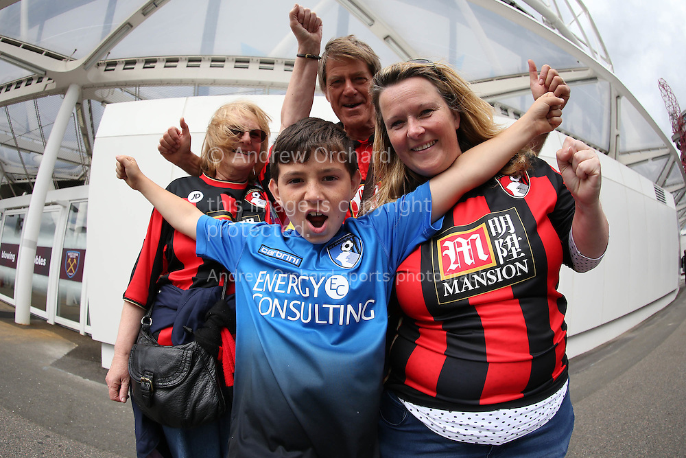 a Group of Bournemouth fans pose for a photo outside London Stadium before k/o. Premier league match, West Ham Utd v AFC Bournemouth at the London Stadium, Queen Elizabeth Olympic Park in London on Sunday 21st August 2016.<br /> pic by John Patrick Fletcher, Andrew Orchard sports photography.