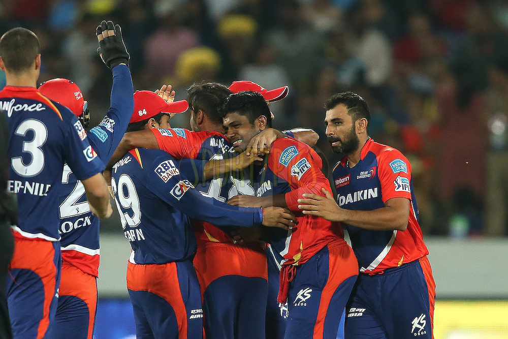 Sanju Samson of Delhi Daredevils and Amit Mishra of Delhi Daredevils are congratulated for getting Shikhar Dhawan of Sunrisers Hyderabad wicket during match 42 of the Vivo IPL 2016 (Indian Premier League) between the Sunrisers Hyderabad and the Delhi Daredevils held at the Rajiv Gandhi Intl. Cricket Stadium, Hyderabad on the 12th May 2016<br /> <br /> Photo by Shaun Roy / IPL/ SPORTZPICS