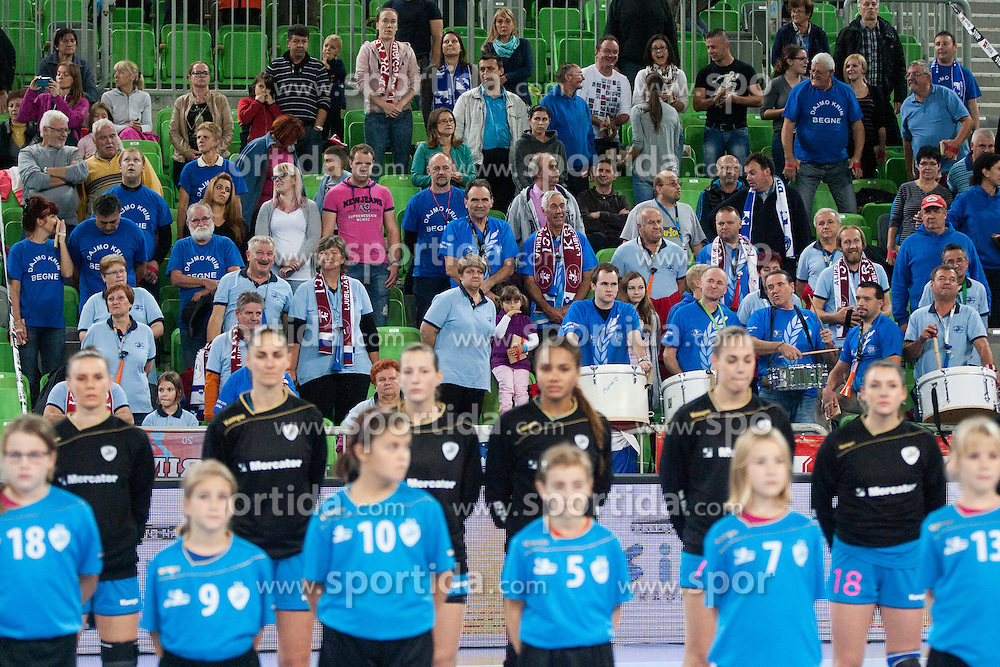 Supporters of RK Krim Mercator, Krimovci during handball match between RK Krim Mercator (SLO) and HCM Baia Mare (ROM) in 1st Round of Women's EHF Champions League 2015/16, on October 16, 2015 in Arena Stozice, Ljubljana, Slovenia. Photo by Urban Urbanc / Sportida