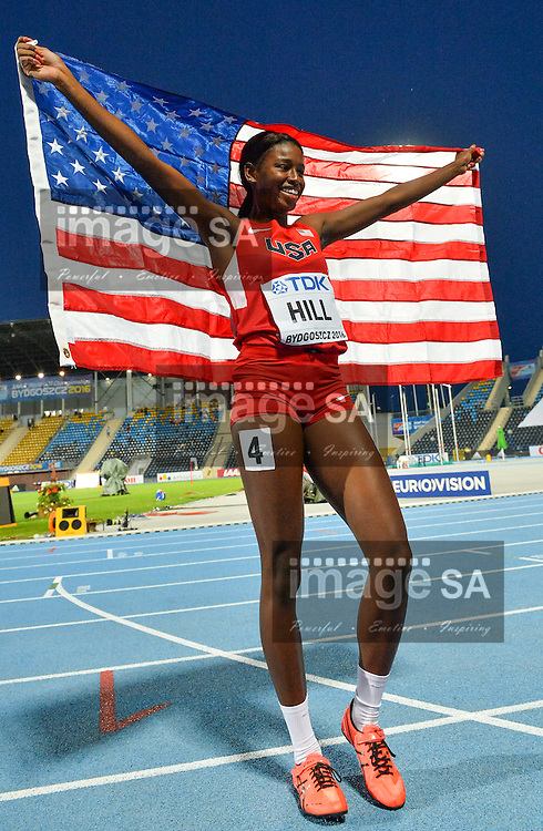 BYDGOSZCZ, POLAND - JULY 21: Candace Hill of the USA celebrates her gold medal in the women's 100m during the evening session on day 3 of the IAAF World Junior Championships at Zawisza Stadium on July 21, 2016 in Bydgoszcz, Poland. (Photo by Roger Sedres/Gallo Images)