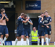Southend player Noel Hunt celebrates after scoring during the Sky Bet League 1 match between Southend United and Peterborough United at Roots Hall, Southend, England on 5 September 2015. Photo by Bennett Dean.