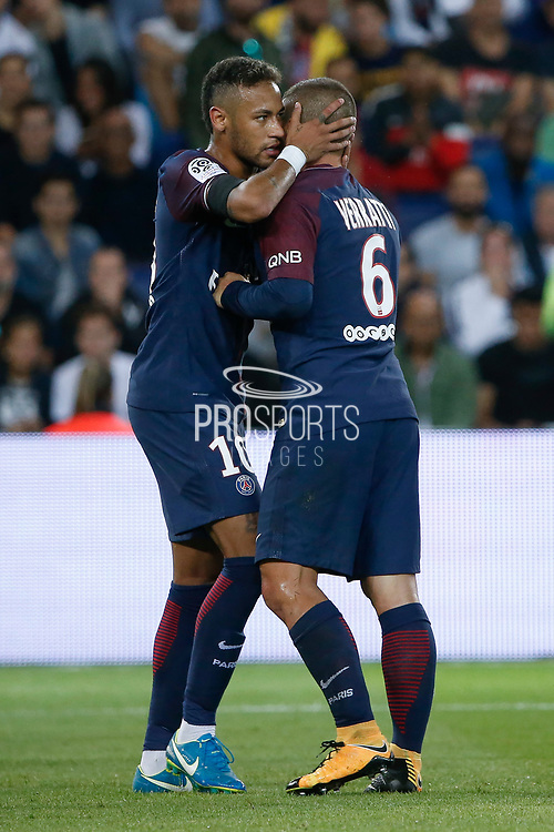 Marco Verratti (psg) received a yellow card and must leave the playground, Neymar da Silva Santos Junior - Neymar Jr (PSG) told him something during the French championship L1 football match between Paris Saint-Germain (PSG) and Toulouse Football Club, on August 20, 2017, at Parc des Princes, in Paris, France - Photo Stephane Allaman / ProSportsImages / DPPI