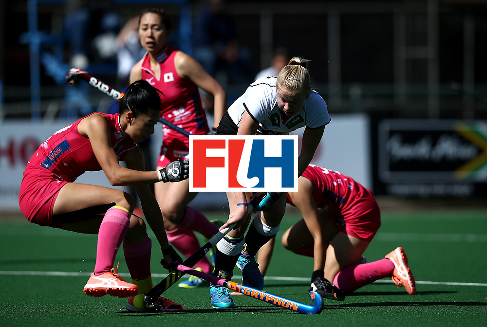 JOHANNESBURG, SOUTH AFRICA - JULY 16:  Naomi Heyn of Germany battles with Hazuki Yuda of Japan during day 5 of the FIH Hockey World League Women's Semi Finals Pool A match between Japan and Germany at Wits University on July 16, 2017 in Johannesburg, South Africa.  (Photo by Jan Kruger/Getty Images for FIH)