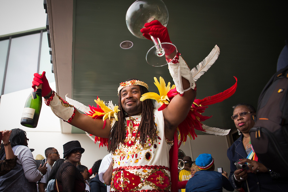 Feb. 1, 2015, New Orleans LA,  King making a toast at the start of the Treme Sidewalk Steppers 31st Annual Second Line Parade.