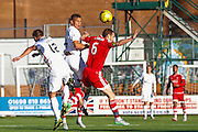 Hamilton Academical Forward Carlton Morris heads one the only shots in the first half during the Ladbrokes Scottish Premiership match between Hamilton Academical FC and Aberdeen at New Douglas Park, Hamilton, Scotland on 22 November 2015. Photo by Craig McAllister.