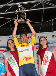 08.07.2017, Wels, AUT, Ö-Tour, Österreich Radrundfahrt 2017, Siegerehrung, im Bild Stefan Denifl (AUT, Team Aqua Blue Sport) im gelben Trikot // Stefan Denifl of Austria (Aqua Blue Sport) in the yellow jerseyon Podium during winner ceremony for 2017 Tour of Austria. on Podium during winner ceremony for 2017 Tour of Austria. Wels, Austria on 2017/07/08. EXPA Pictures © 2017, PhotoCredit: EXPA/ Reinhard Eisenbauer