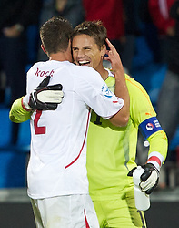 AALBORG, DENMARK - Saturday, June 11, 2011: Switzerland's goalkeeper Yann Sommer (FC Basel 1893) and Philippe Koch (FC Zurich) celebrate their victory over Denmark during the UEFA Under-21 Championship Denmark 2011 Group A match at the Aalborg Stadion. (Photo by Vegard Grott/Propaganda)