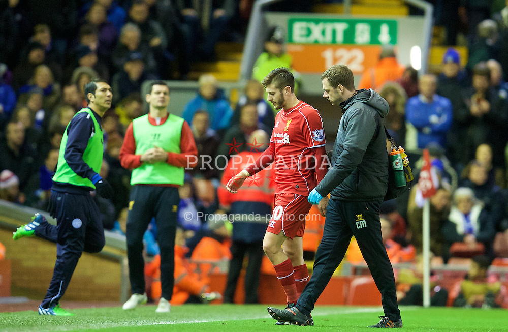 LIVERPOOL, ENGLAND - Thursday, New Year's Day, January 1, 2015: Liverpool's Adam Lallana goes off injured during the Premier League matchz against Leicester City at Anfield. (Pic by David Rawcliffe/Propaganda)