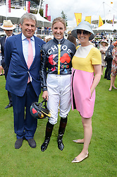 Left to right, CHARLES GORDON-WATSON, JEMIMA HANNON and KATE REARDON at the Qatar Goodwood Festival - Ladies Day held at Goodwood Racecourse, West Sussex on 30th July 2015.