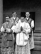 His Grace Most Reverend Dr. Charles Mc Quaid, Archbishop of Dublin and Primate of Ireland, ordained four new priests all for English Dioceses, at Holy Cross College Clonliffe..Pictured shows (l-R) Frs P. Reilly (Dublin), E. Clark (Dublin), P. McCoy (Limerick) and A. Donlon, (Roscrea)..12.03.1960.