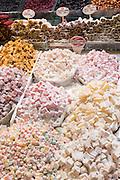 Traditional sweetmeats Turkish Delight, Lokum, in Misir Carsisi Egyptian Bazaar food and spice market, Istanbul, Turkey