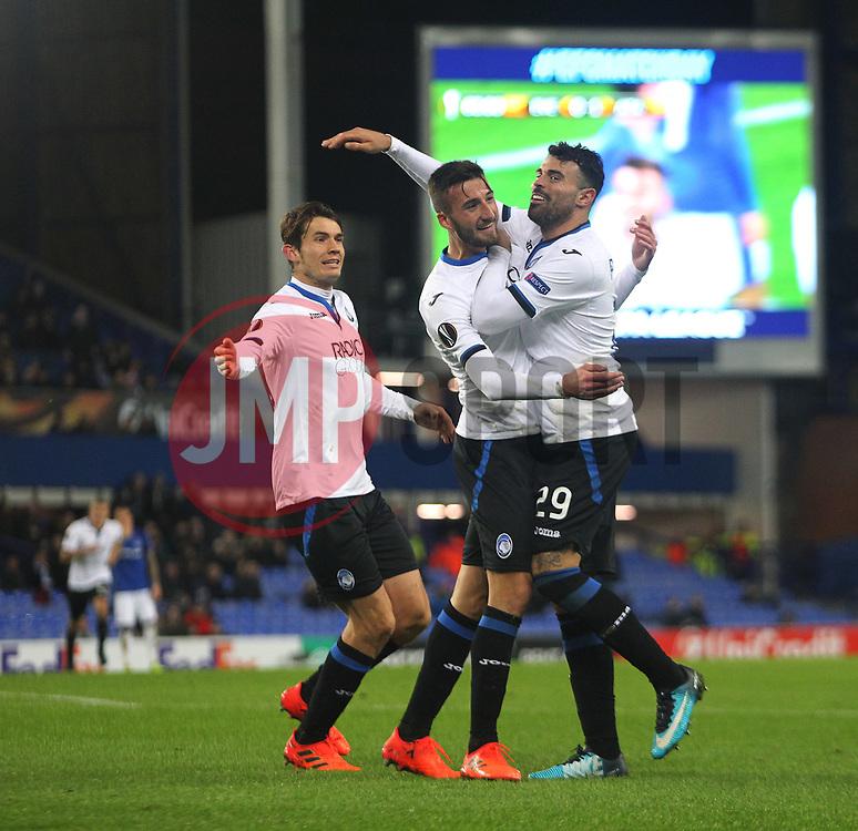 Bryan Cristante of Atalanta (C) celebrates after scoring his sides second goal - Mandatory by-line: Jack Phillips/JMP - 23/11/2017 - FOOTBALL - Goodison Park - Liverpool, England - Everton v Atalanta - UEFA Europa League Group Stage