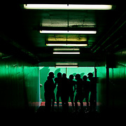 Players with the Kansas City Chiefs prepare to take the field in the tunnel near the players bench before their game against the Buffalo Bills on November 23, 2008 at Arrowhead Stadium.