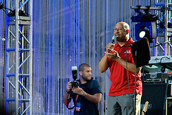 Mayor Michael Nutter welcomes the crowd gathered at the Benjamin Franklin Parkway for the Philly 4th of July Jam with the Roots. (Bas Slabbers/for NewsWorks)