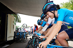 Lourdes Oyarbide (ESP) warms up at Stage 2 of 2019 OVO Women's Tour, a 62.5 km road race starting and finishing in the Kent Cyclopark in Gravesend, United Kingdom on June 11, 2019. Photo by Sean Robinson/velofocus.com