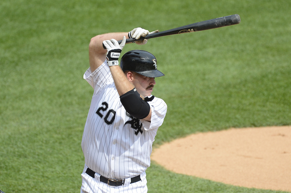 CHICAGO - SEPTEMBER 05:  Kevin Youkilis #20 of the Chicago White Sox bats against the Minnesota Twins on September 05, 2012 at U.S. Cellular Field in Chicago, Illinois.  The White Sox defeated the Twins 6-2.  (Photo by Ron Vesely)  Subject:    Kevin Youkilis