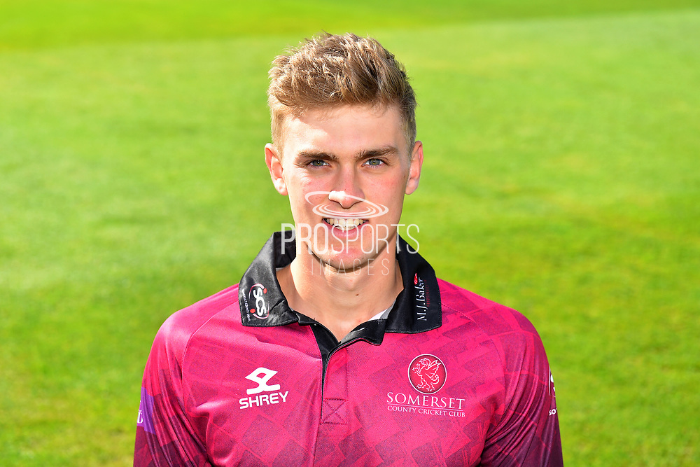Head shot of Tom Lammonby in the Royal London One-Day Cup kit during the 2019 media day at Somerset County Cricket Club at the Cooper Associates County Ground, Taunton, United Kingdom on 2 April 2019