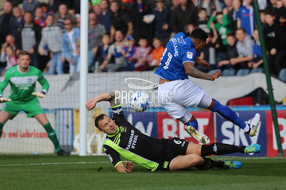 Anthony Kay challenge on Nathaniel Mendez-Laing during the EFL Sky Bet League 1 match between Rochdale and Bury at Spotland, Rochdale, England on 15 October 2016. Photo by Daniel Youngs.