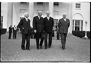 22/08/1962<br /> 08/22/1962<br /> 22 August, 1962<br /> Col S. Brennan, Eamon de Valera, Dwight D. Eisenhower at Aras an Uachtarain
