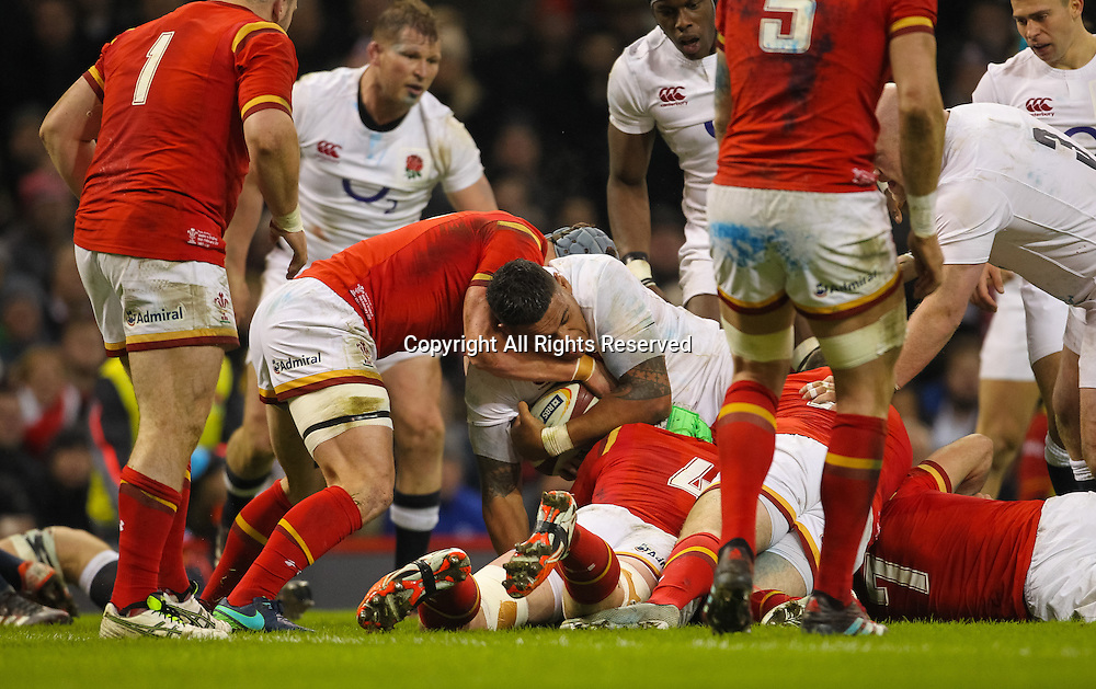 February 11th 2017, Principality Stadium , Cardiff, Wales; 6 Nations Mens rugby, Wales versus England; Englands Nathan Hughes is held up just short of the Wales try line by Wales Jonathan Davies