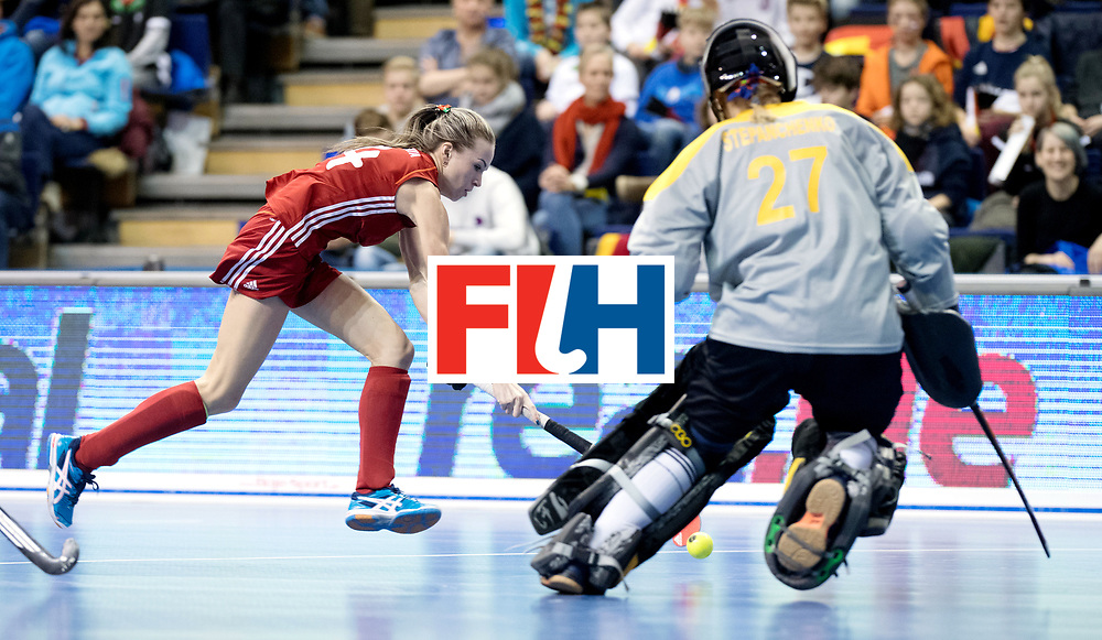 BERLIN - Indoor Hockey World Cup<br /> Bronze: Ukraine - Belarus<br /> Belarus wins 3rd place.<br /> foto: SILITSKAYA Nadzeya.<br /> WORLDSPORTPICS COPYRIGHT FRANK UIJLENBROEK