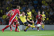 Burton Albion forward Liam Boyce (27) stretches to reach the ball during the EFL Cup match between Burton Albion and Morecambe at the Pirelli Stadium, Burton upon Trent, England on 27 August 2019.