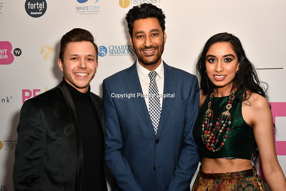 Jassa Ahluwalia,Harbhajan Mann and Amrit Kaur Lohia attend the BritAsiaTV Presents Kuflink Punjabi Film Awards 2019 at Grosvenor House, Park Lane, London,United Kingdom. 30 March 2019