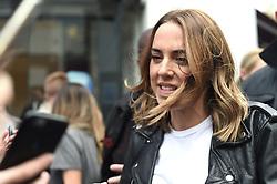 Spice Girl Melanie Chisholm leaving Global Radio studios in Leicester Square, London.
