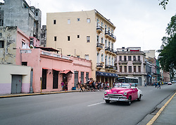 Old Havana, Cuba. Havana vieja, street. Vintage car, transportation.