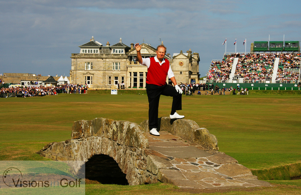 Jack Nicklaus waves goodbye to The Open  (USA) on the Swilcan Bridge in his last ever Open<br />