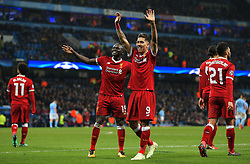 Roberto Firmino of Liverpool celebrates after scoring his sides second goal - Mandatory by-line: Matt McNulty/JMP - 10/04/2018 - FOOTBALL - Etihad Stadium - Manchester, England - Manchester City v Liverpool - UEFA Champions League Quarter Final Second Leg
