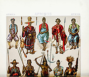 Ancient African tribal fashion and accessories from Geschichte des kostüms in chronologischer entwicklung (History of the costume in chronological development) by Racinet, A. (Auguste), 1825-1893. and Rosenberg, Adolf, 1850-1906, Volume 1 printed in Berlin in 1888