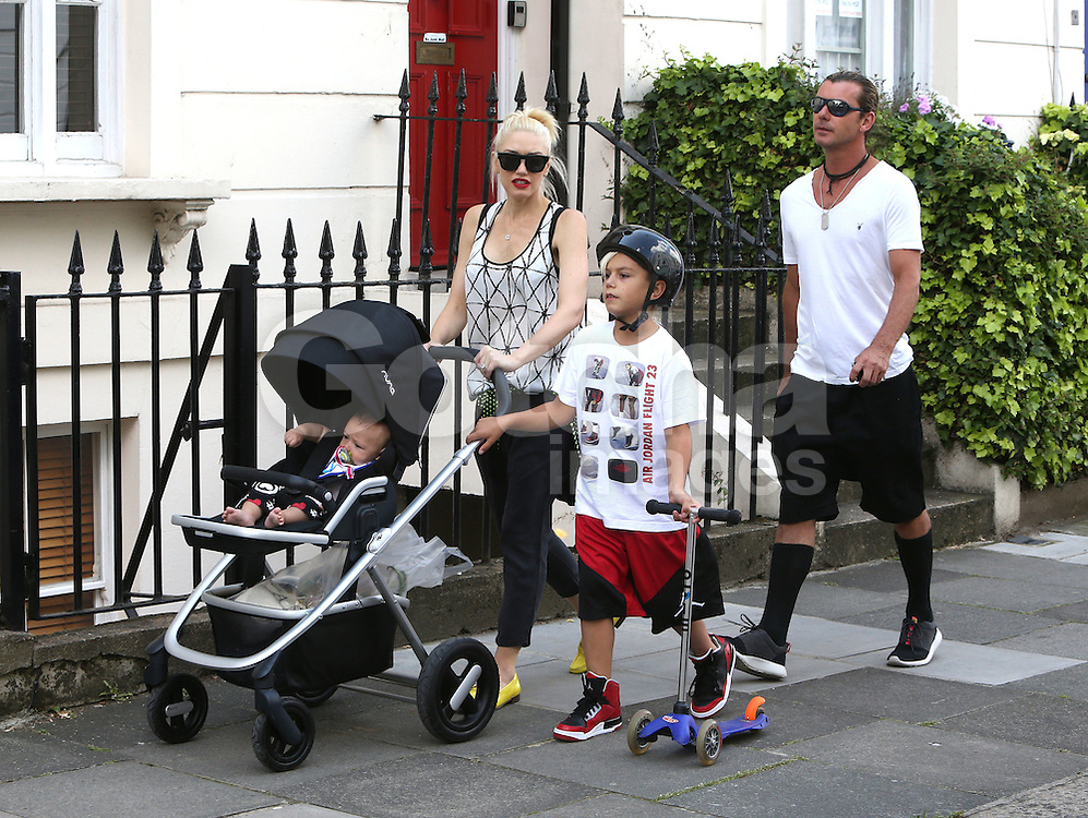 Gwen Stefani and Gavin Rossdale and their three boys Kingston Rossdale, Zuma Nesta Rock Rossdale and Apollo Bowie Flynn Rossdale stroll in Camden Lock, London, UK. 23/07/2014<br />