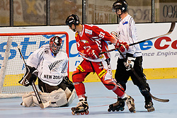 Goalie Michael Coleman of New Zealand saves a shot at IIHF In-Line Hockey World Championships 2011 Division 1 quarter final match between National teams of Austria and New Zealand on June 23, 2011, in Pardubice, Czech Republic. (Photo by Matic Klansek Velej / Sportida)