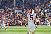 PASADENA, CA - JANUARY 1:  Christian McCaffrey #5 of the Stanford Cardinal waits to return a kickoff during the 102nd Rose Bowl game between Stanford and the Iowa Hawkeyes played on January 1, 2016 at the Rose Bowl stadium in Pasadena, California.  (Photo by David Madison/Getty Images) *** Local Caption *** Christian McCaffrey
