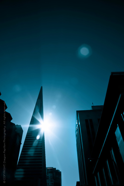 sun setting behind Transamerica Pyramid, San Francisco in blue monochromatic tones and dramatic sun flare,