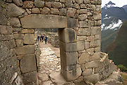 Stone doorway at Machu Picchu  Peru