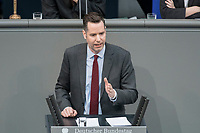 14 FEB 2019, BERLIN/GERMANY:<br /> Christian Duerr, MdB, FDP; Bundestagsdebatte, Plenum, Deutscher Bundestag<br /> IMAGE: 20190214-01-064<br /> KEYWORDS: Bundestag, Debatte, Christian Dürr