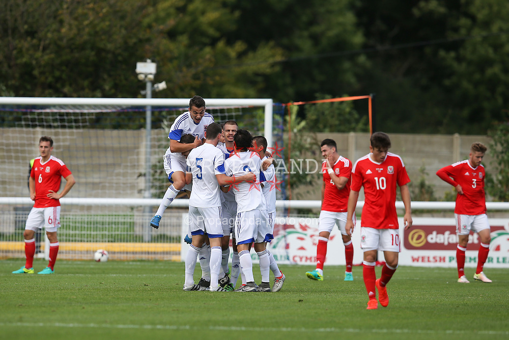 BANGOR, WALES - Tuesday, September 6, 2016: Luxembourg players celebrate the opening goal during the UEFA Under-21 Championship Qualifying Group 5 match against Wales at Nantporth Stadium. (Pic by Paul Greenwood/Propaganda)