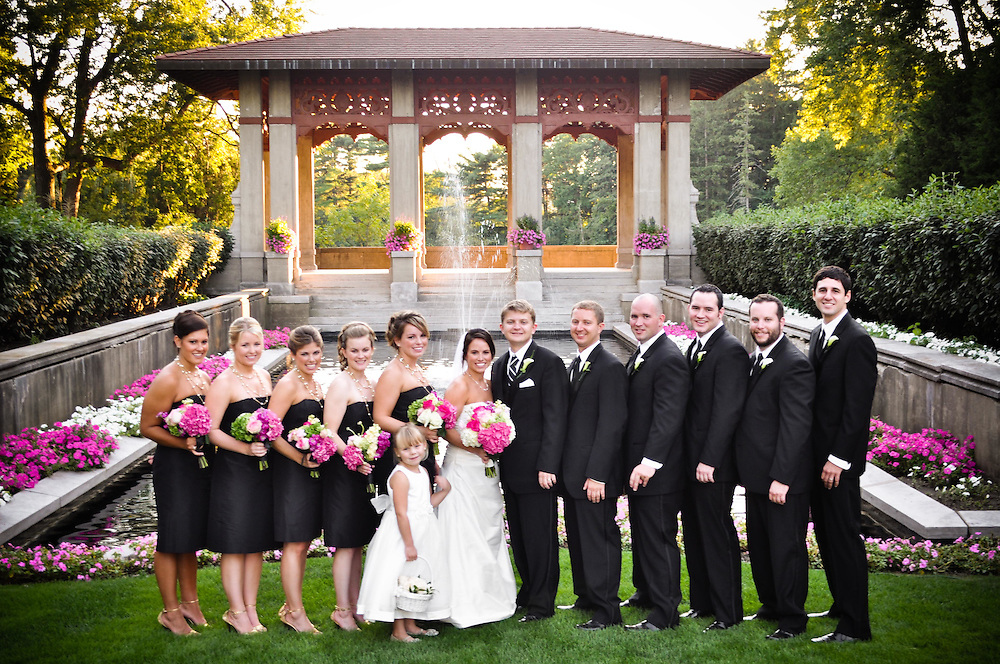 Kelly & Craig's bridal partyin front of the fountain at The Armour House, Lake Forest, IL
