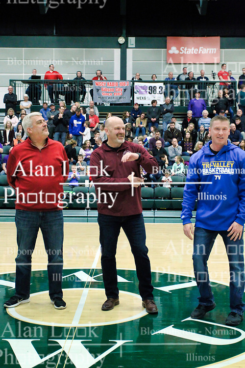 26 January 2019: Recognition of the IBCA Organization of they Year award during the McLean County Tournament at Shirk Center in Bloomington Illinois<br /> <br /> Terry Lutjens, Gary Tipsord, Troy Hall