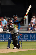 Martin Guptill four (but nearly caught) during the ICC World Twenty20 Cup match between New Zealand and Sri Lanka at Trent Bridge. Photo © Graham Morris (Tel: +44(0)20 8969 4192 Email: sales@cricketpix.com)