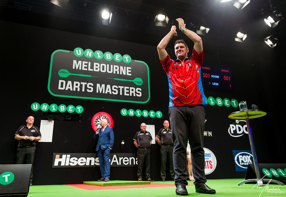 MELBOURNE, Australia - Sunday 20 August 2017:  Daryl Gurney during the semi finals of the Unibet Melbourne Dart Masters at Hisense Arena on Sunday 20 August 2017.<br /> <br /> Photo Credit: Tim Murdoch/Tim Murdoch Photography