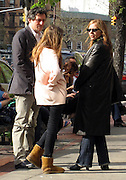 **EXCLUSIVE**.Gabriel Byrne with his daughter, Romey Marion - her mother is Ellen Barkin, who just divorced Billionaire Ron Perlman - enjoying the warm sunny weather in New York City in the West Village.New York, NY, USA .Sunday, April, 29, 2007.Photo By Celebrityvibe.To license this image call (212) 410 5354 or;.Email: celebrityvibe@gmail.com; .