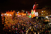 Hull City Centre, Kingston Upon Hull, East Yorkshire, United Kingdom, 27 November, 2014. Christmas Lights Turn On Pictured: Large Crowd