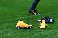 Nike's shoes lie on the pitch during official training one day before the EURO 2016 qualifying match between Poland and Germany on October 10, 2014 at the National stadium in Warsaw, Poland<br /> <br /> Picture also available in RAW (NEF) or TIFF format on special request.<br /> <br /> For editorial use only. Any commercial or promotional use requires permission.<br /> <br /> Mandatory credit:<br /> Photo by © Adam Nurkiewicz / Mediasport
