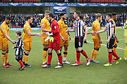 The teams shake hands  prior to  the EFL Sky Bet League 2 match between Grimsby Town FC and Port Vale at Blundell Park, Grimsby, United Kingdom on 10 March 2018. Picture by Mick Atkins.